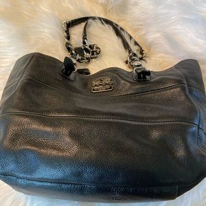 Black leather Coach tote